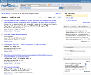Pubmed Search: doctor drug abuse