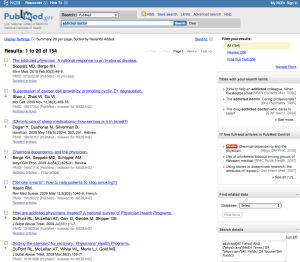Pubmed Search: addicted doctor