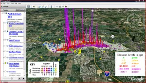 Roger Rayle: Google Earth: Dioxane Levels in ppb