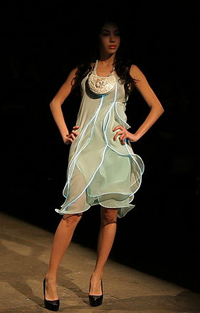 One of Diana Eng's designs at the Fairytale Fashion show with EL wire sewn into the dress