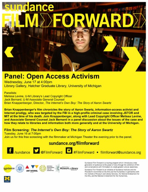Panel: Open Access Activism, The Story of Aaron Swartz, with lessons for libraries and information.