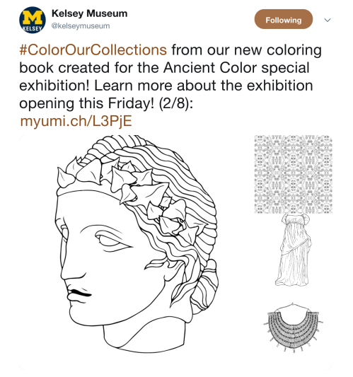 Screenshot of Kelsey Museum tweet with thumbnails of black and white line drawings