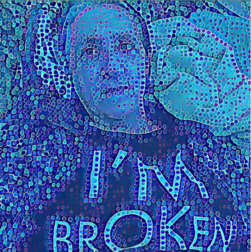 "A pixelated portrait of Patricia laying flat on the couch in a nest of blankets and pillows. She wears a sweater and a t-shirt stating ""I'm broken/I'm OK."" The image is all shades of blue, and comprised of dots of varying sizes.."