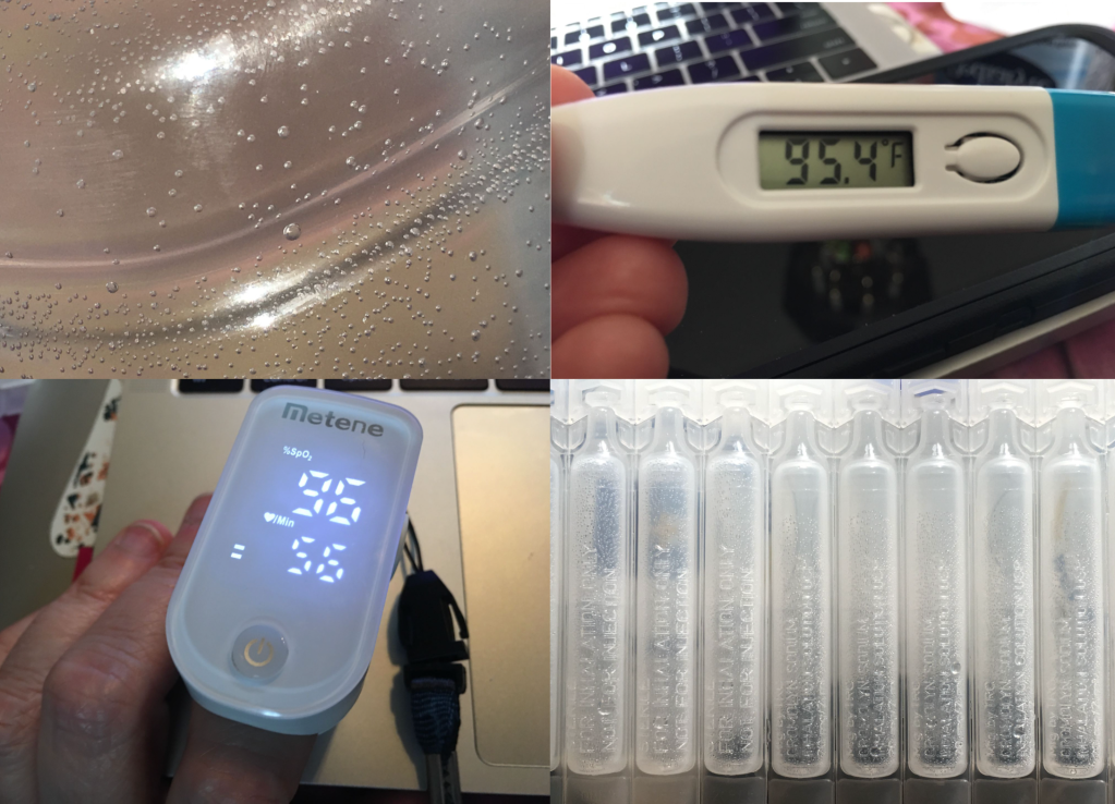 A grid of four photos shows macros of (clockwise from upper left) a Pedialyte bottle, digital thermometer reading 95.4F, nebulizer tubes, and a pulse-oximeter reading 96% oxygenation with a pulse of 56.